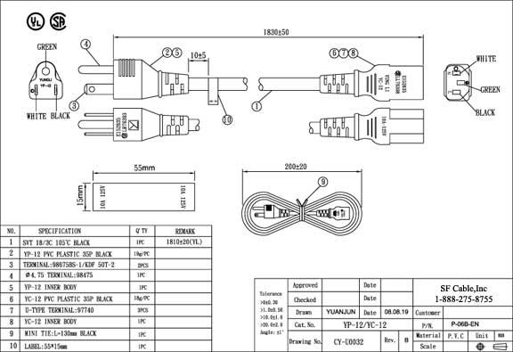 6ft NEMA 5-15P USA 3-pin Plug to C13 SVT Power Cord