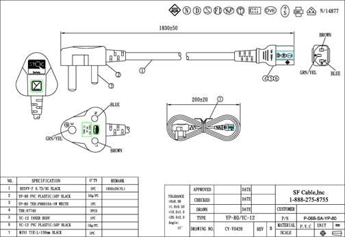 6ft south africa industrial 3-pin plug to iec c13 power ... iec plug wiring diagram