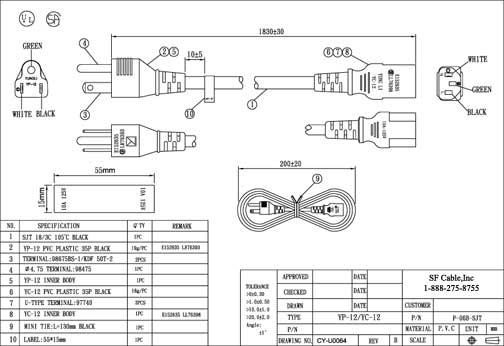 6ft USA NEMA 5-15P 3-pin to C13 SJT Heavy Duty Power Cord