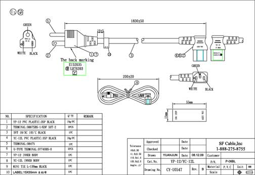 6ft USA NEMA 5-15P 3-pin Plug to right angle C13 Power Cord