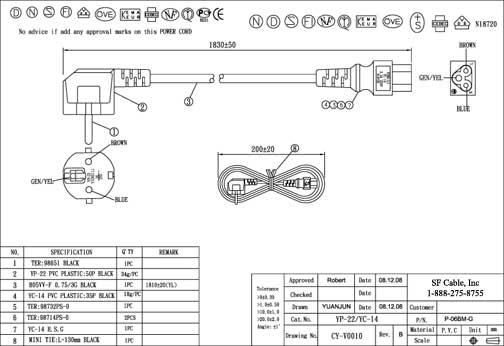 6ft European plug to IEC C5 Power Cord