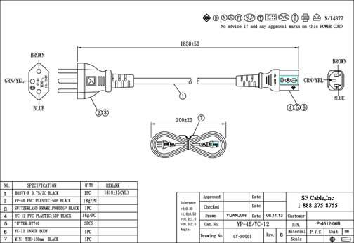 6ft Switzerland 3-pin Plug to IEC C13 Power Cord