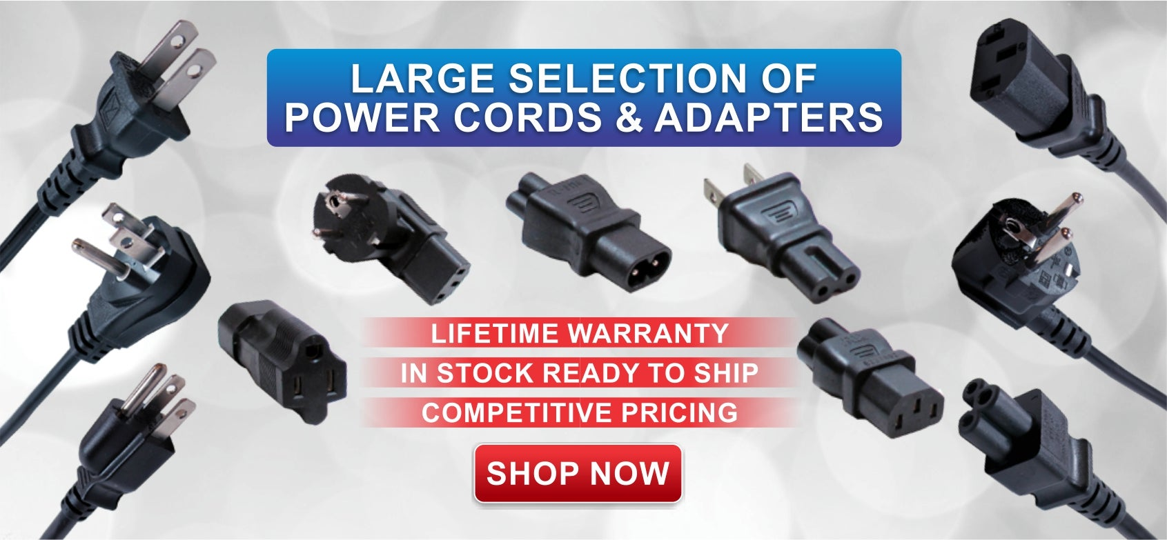 large selection of power cords and adapter