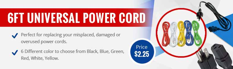 6ft Universal US Power Cord