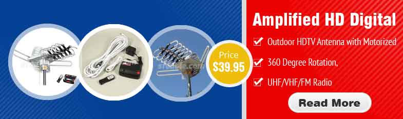 Amplified HD Digital Outdoor HDTV Antenna with Motorized 360 Degree Rotation, UHF/VHF/FM Radio