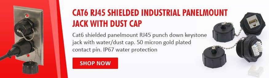 CAT6 RJ45 Shielded Industrial Panelmount Jack with Dust Cap