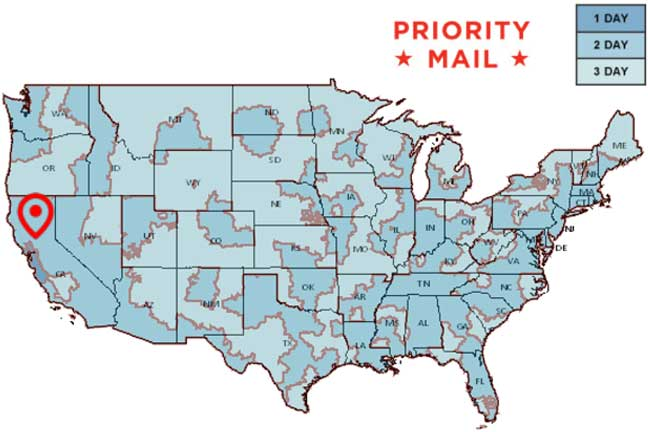 Delivery Areas Priority Mail Shipments